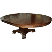 Large Antique Ornate Round Quarter Sawn Oak Dining Table