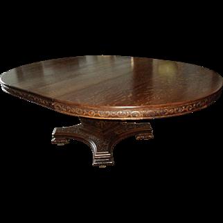 Large Antique Ornate Round Quarter Sawn Oak Dining Table