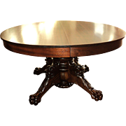 Antique Round Mahogany Dining Table, Lion's Heads