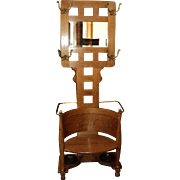 Antique Oak Hall Tree w. Beveled Mirror