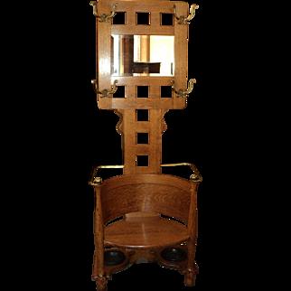 Antique Oak Hall Tree w. Beveled Mirror