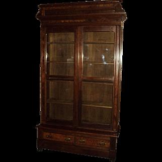 Antique Walnut Eastlake Victorian Bookcase
