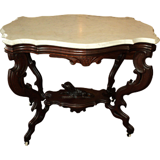 Antique Victorian Marble Top Turtle Shaped Table