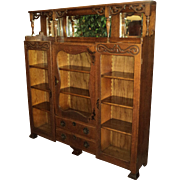 Antique Oak Three Door Bookcase w. Beveled Mirrors