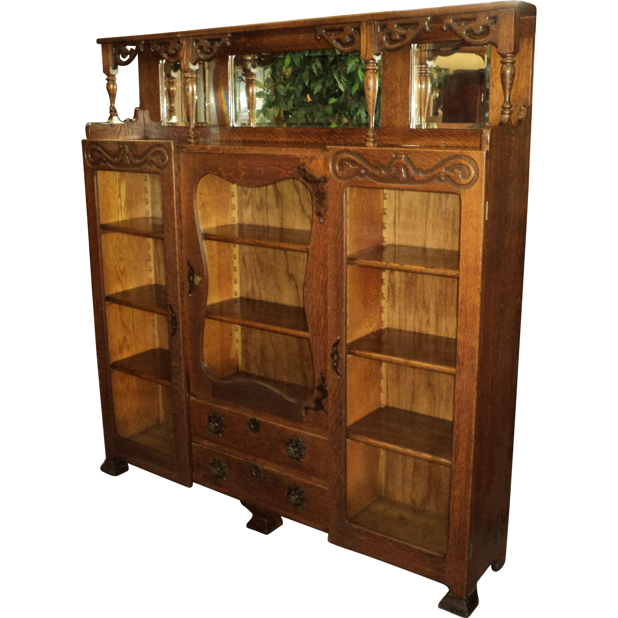 Antique Oak Three Door Bookcase w. Beveled Mirrors