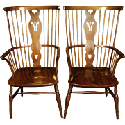 Pair of Leopold Stickley Cherry Windsor Arm Chairs