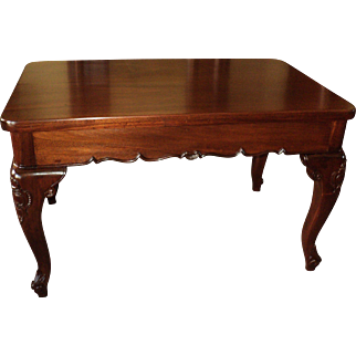 Solid Mahogany French Style Library Table Desk