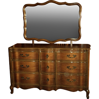 Cherry French Provincial Dresser and Highboy Chest of Drawers, 1950's, w. optional Night Stand