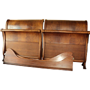 Pair of Mahogany Empire Twin Sleigh Beds w. Claw Feet