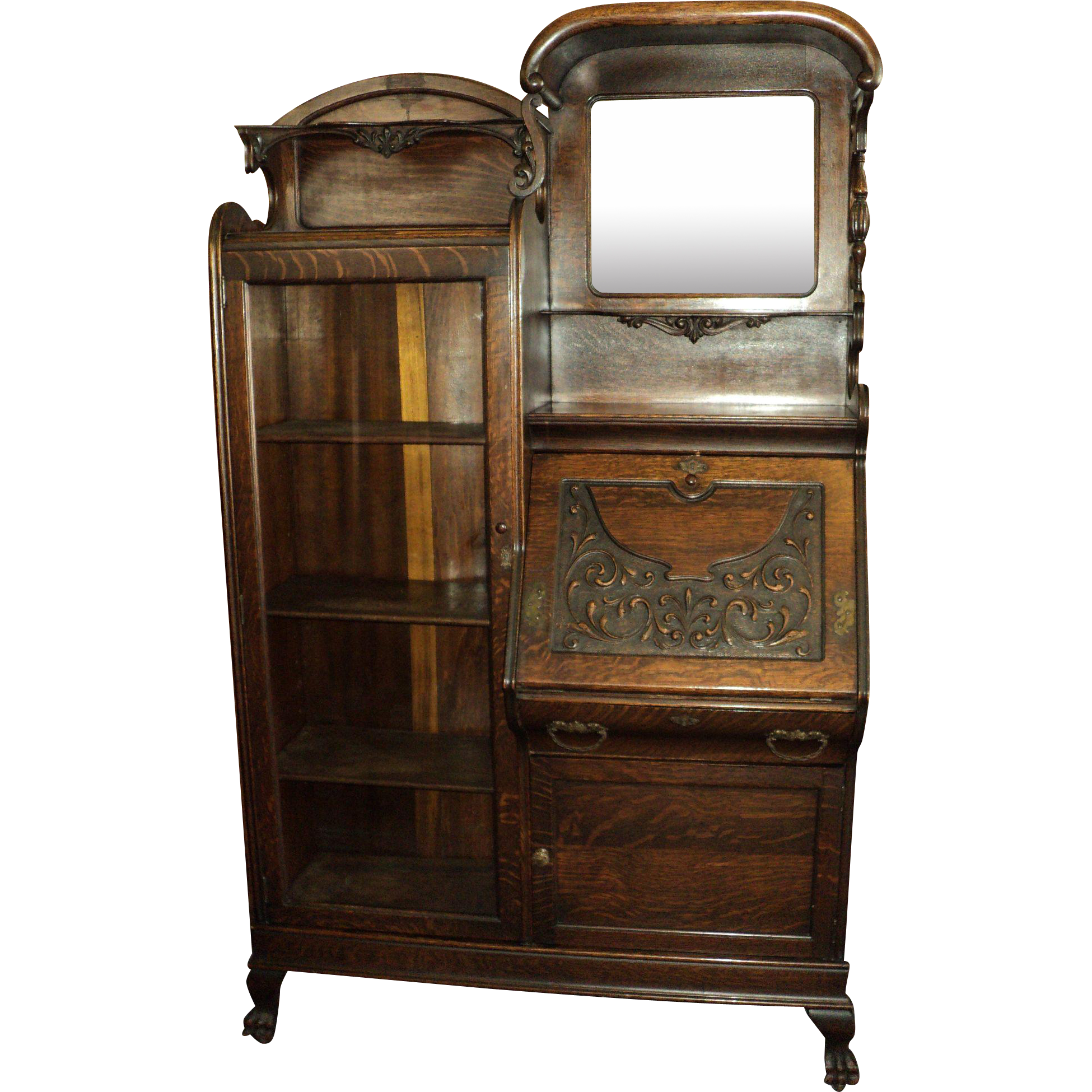 Antique Oak Side by Side Secretary Bookcase, Display Cabinet