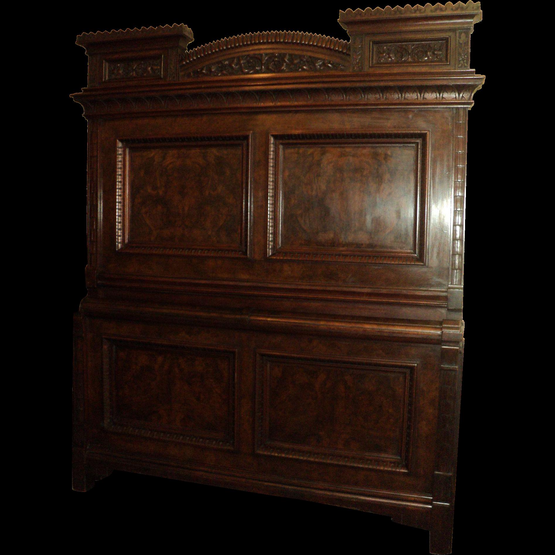 Victorian Walnut Eastlake 1880's 3 Pc Marble Top Bedroom Set