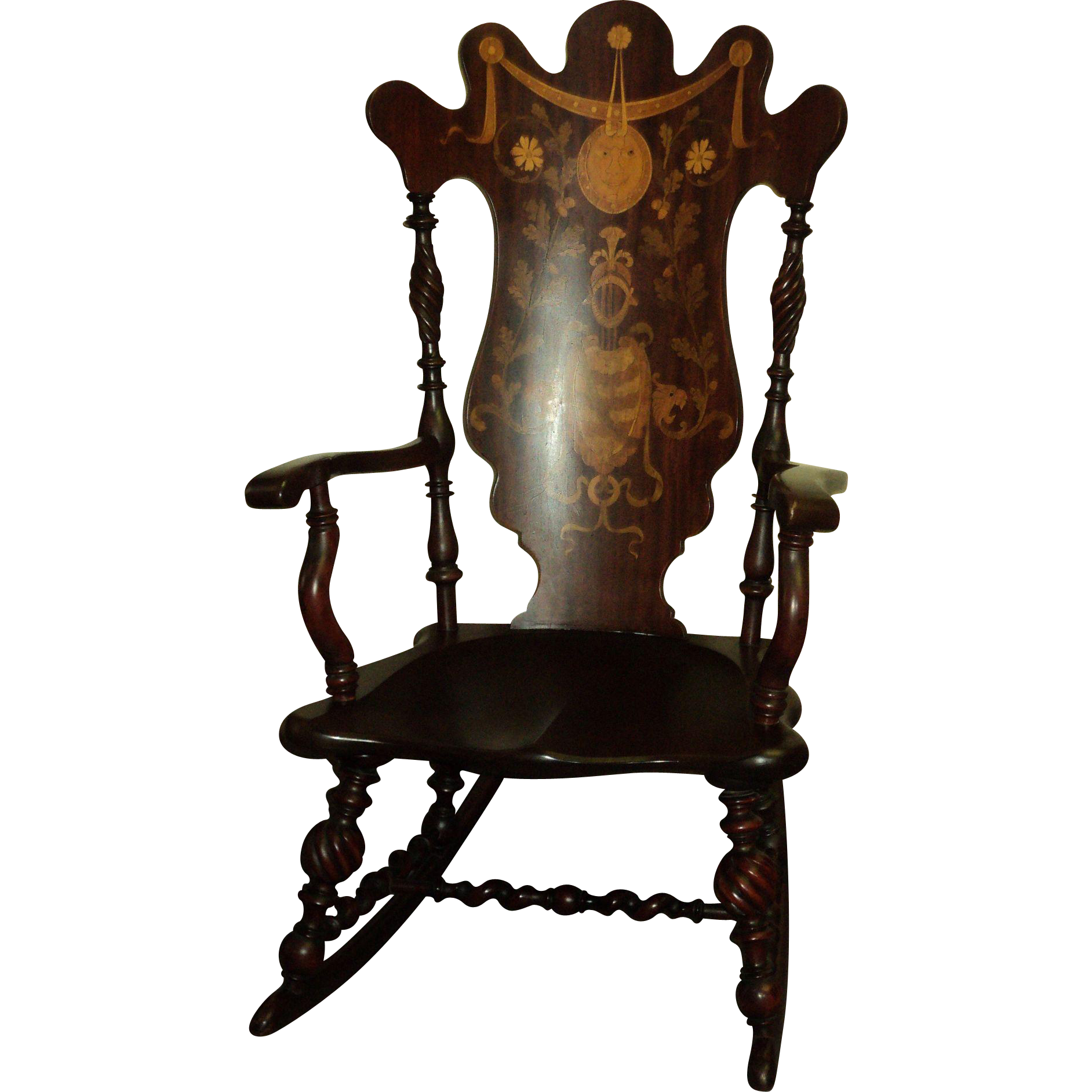 Antique Marquetry Inlaid Mahogany Rocking Chair