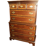 "Banded Mahogany ""Chippendale Style"" Bedroom Set by Dixie Furniture"