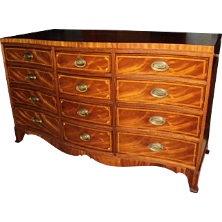 Federal Style Mahogany Inlaid Dresser & Chest on Chest, circa 1940's