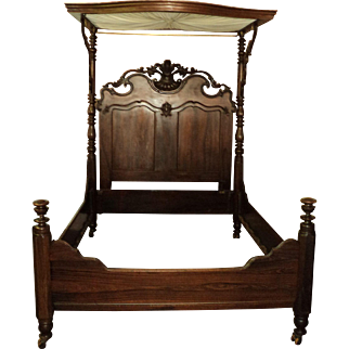 Antique Rosewood Victorian Half Tester Bed, Louis XV Revival