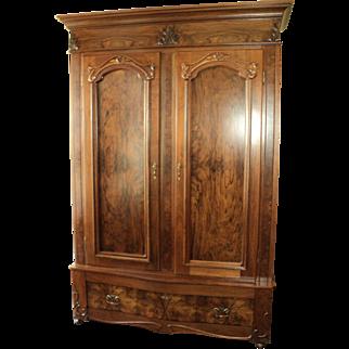 Antique Walnut 2 Door Knockdown Wardrobe Armoire