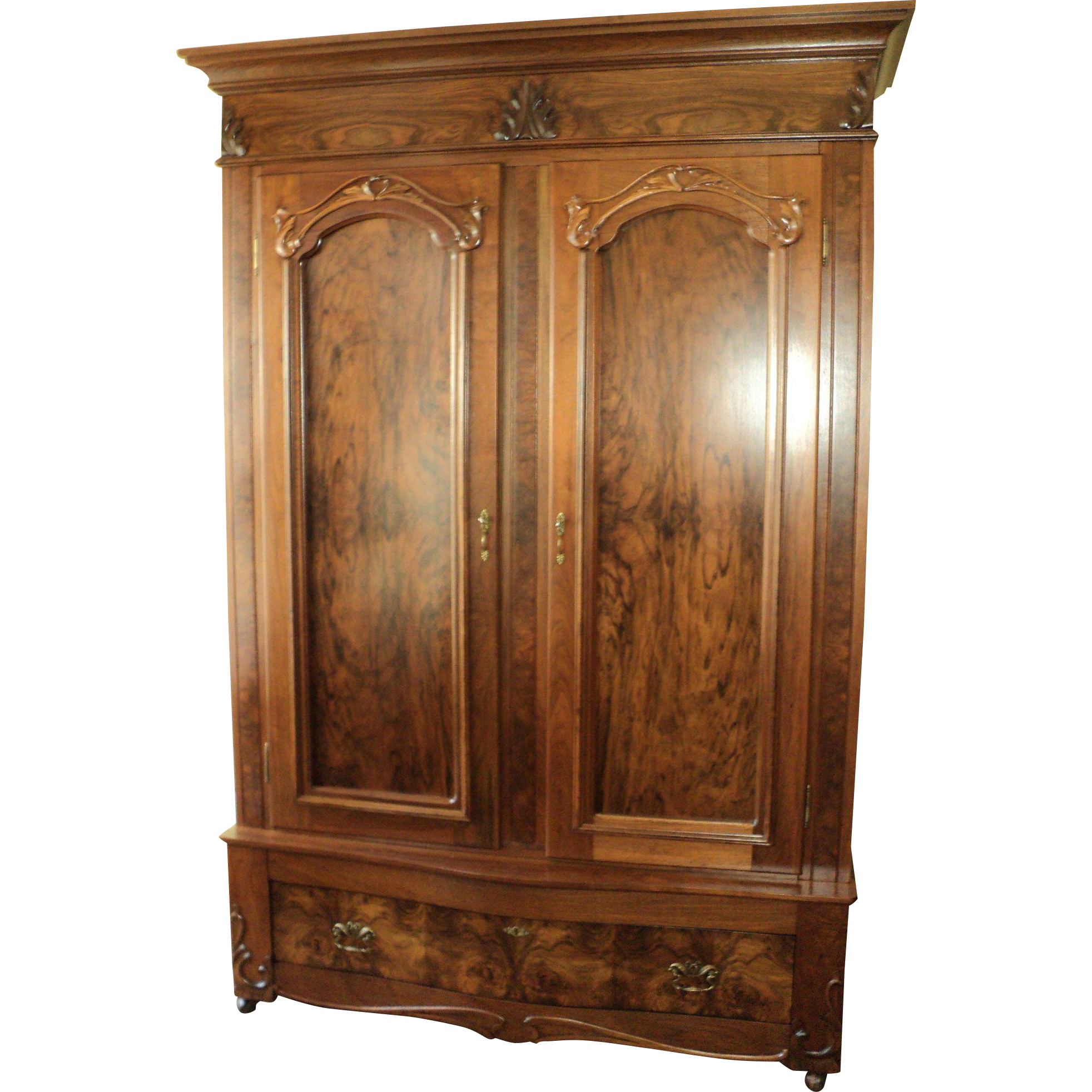 Antique Walnut 2 Door Knockdown Wardrobe Armoire