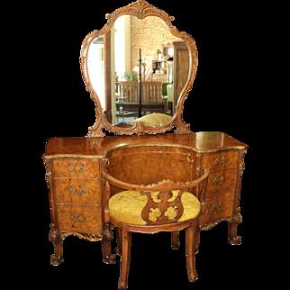 French Provincial Louis XV Vanity & Stool, Burl Acacia Wood