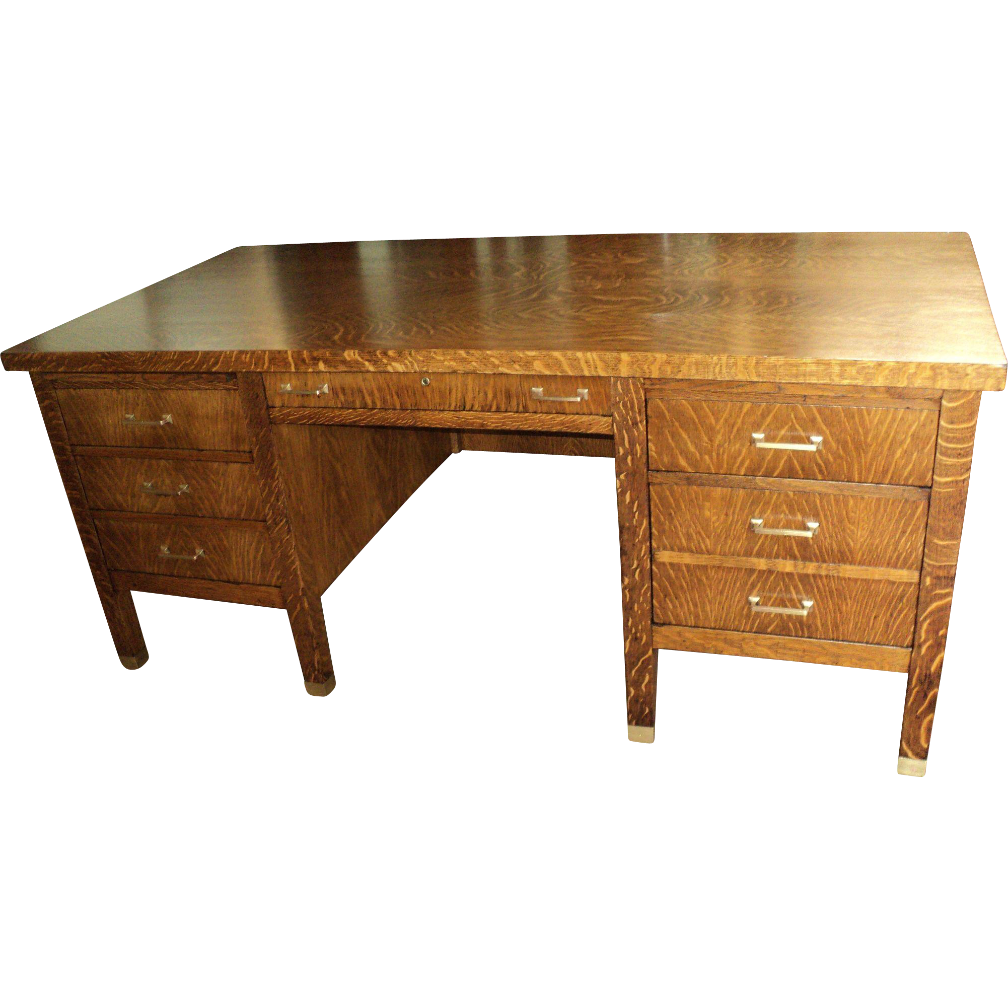 Antique Oak Executive Desk, circa 1900-1910