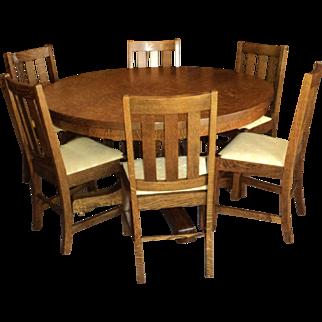 9 Piece Antique Arts & Crafts/Mission Oak Dining Room Set