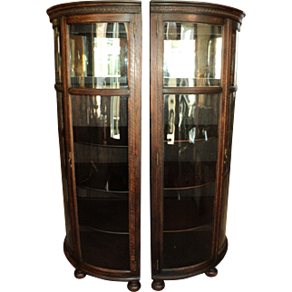 Pair of Antique Oak Curved Glass Corner Cabinets