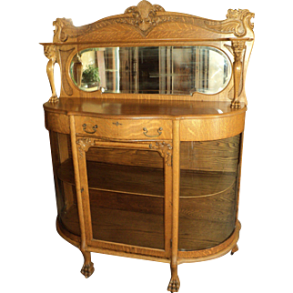 Antique Oak Curved Glass China Cabinet, Lion's Heads, Claw Feet, Beveled Mirror