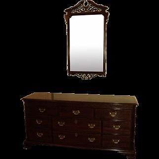 Chippendale Style Cherry Dresser w. Mirror, Knob Creek by Ethan Allen