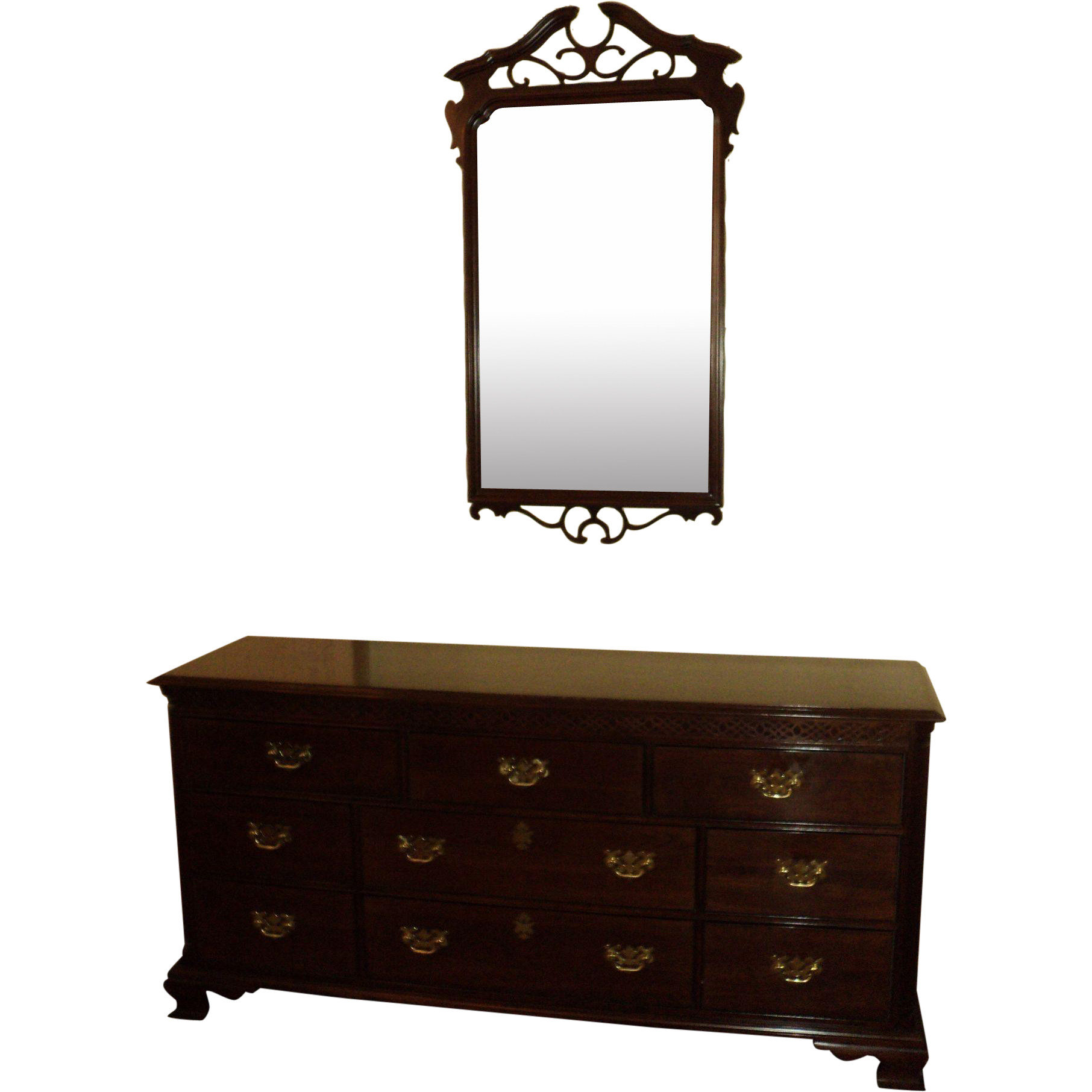 Chippendale Style Cherry Dresser w. Mirror, Knob Creek by Ethan Allen