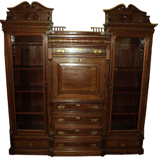 Walnut Eastlake Victorian Three Section Bookcase with Desk