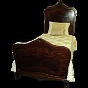 Pair Antique Mahogany French Inlaid Beds Circa 1910-1918