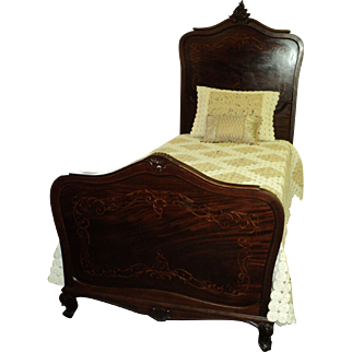 Pair Antique Mahogany French Inlaid Beds Circa 1910-1918