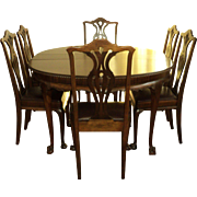 "Antique Walnut ""Chippendale Style"" Round Table & 6 Chairs"