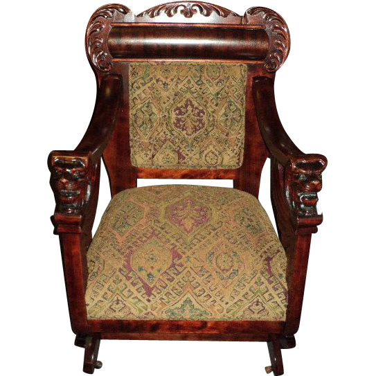 Winged Griffin Platform Rocker, 1890's to 1910,