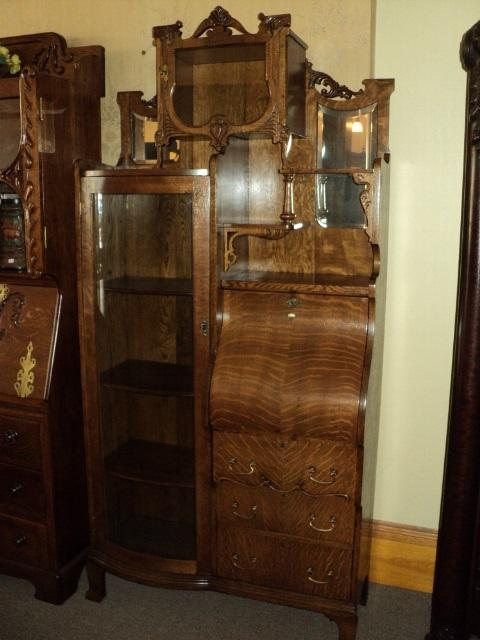 Quarter Sawn Oak Secretary/Bookcase/China Cabinet, ON SALE!