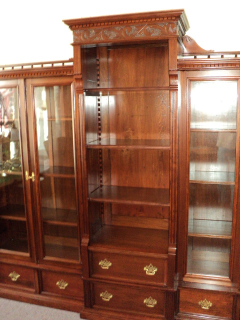Antique Cherry Bookcase, 7-1/2 ft. Long, ON SALE!