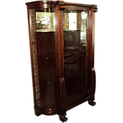 Antique Mahogany Curved Glass China Cabinet, Claw Feet