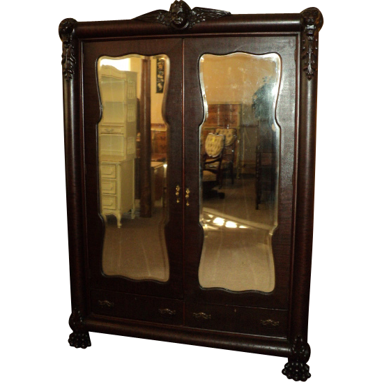 Antique Mahogany Wardrobe w. Winged Cherub and Paw Feet, ON SALE!