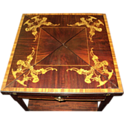 Italian Marquetry Inlaid Games Table, circa early 1900's