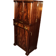 Antique Mahogany Empire Liquor Cabinet Bar