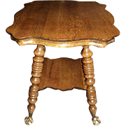 Antique Quarter Sawn Oak Parlor Table, Circa 1900