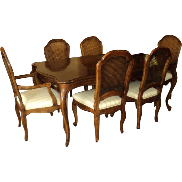 Country French Vintage Henredon Dining Table & 8 Chairs from ...