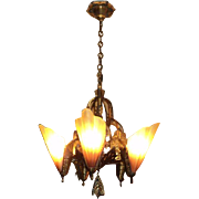 Bronze Brown Tip Art Deco Slip Shade Chandelier, ON SALE!