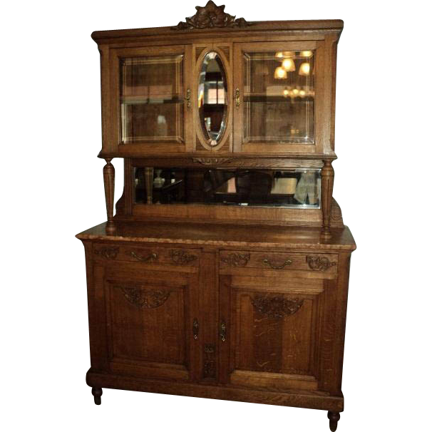 French Marble Top Buffet/China Cabinet