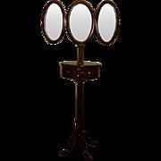Antique Mahogany Shaving Stand w. Tri-Fold Mirrors