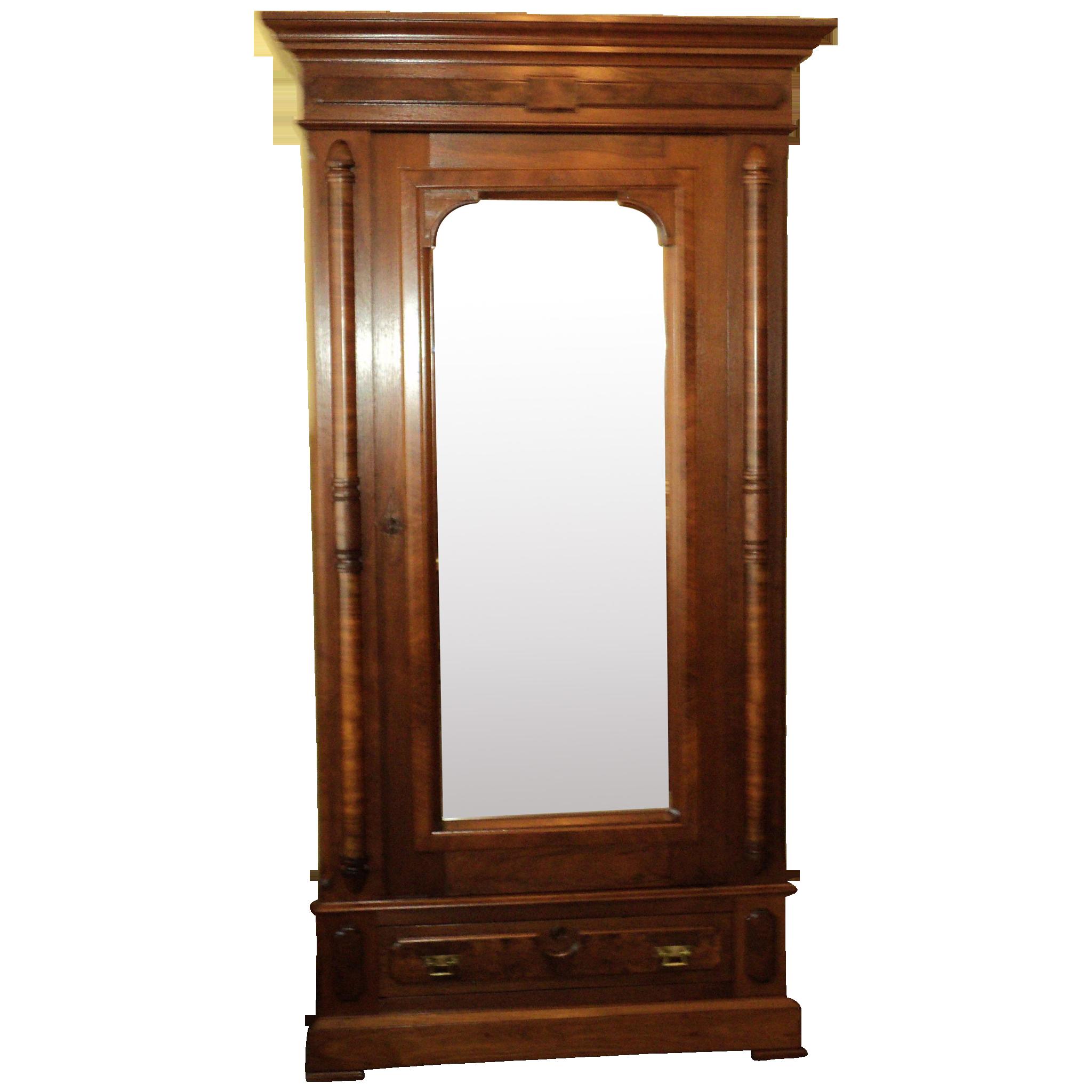Walnut Eastlake Victorian Single Door Wardrobe