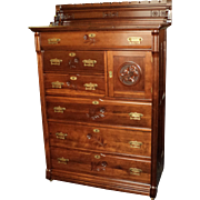 "Tall Cherry Victorian Chest of Drawers ""Daisy Cut"" Designs"
