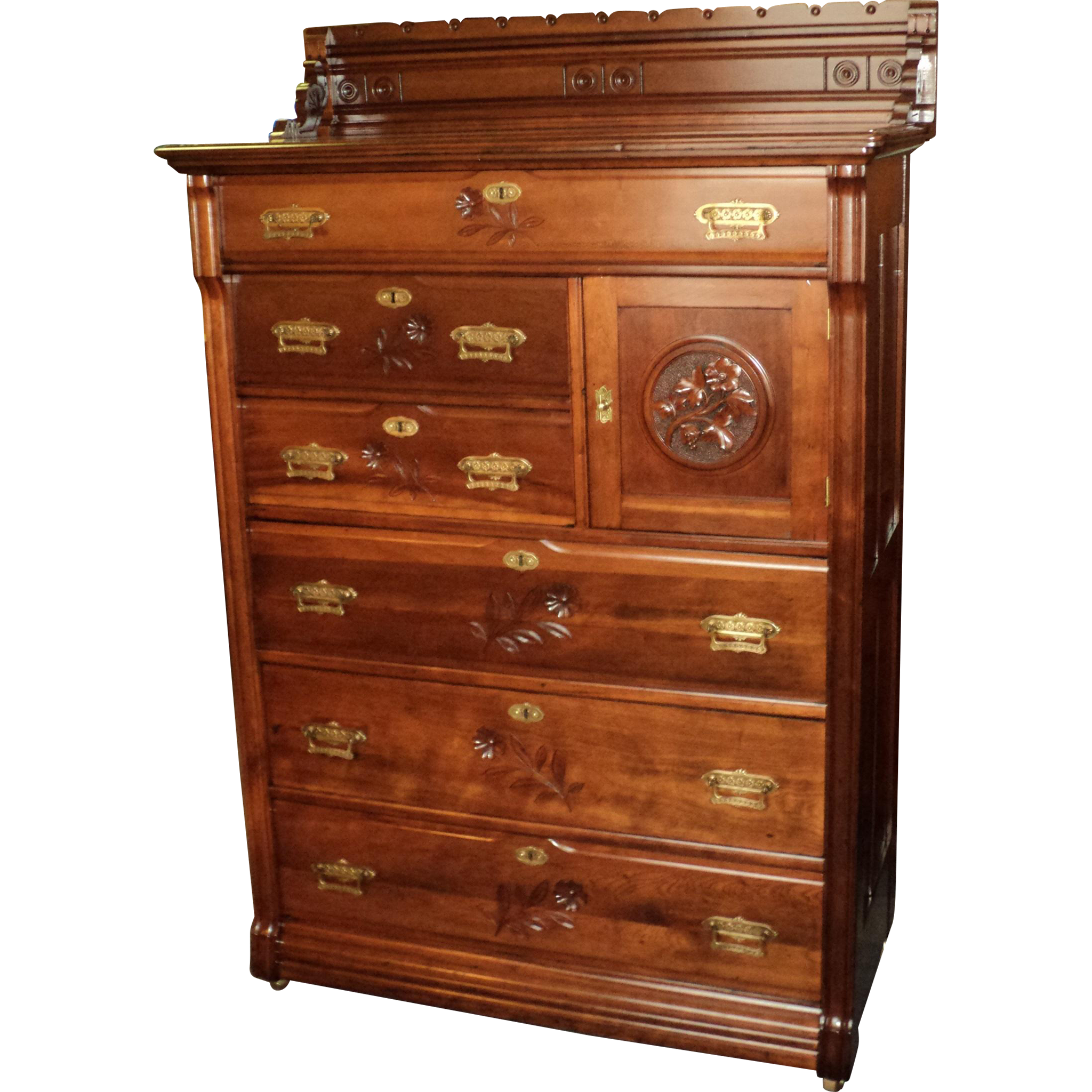 "Tall Cherry Victorian Chest of Drawers ""Daisy Cut"" Designs, ON SALE!"