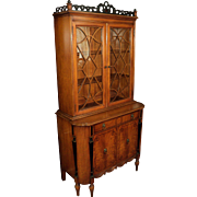 Satin Wood Sheraton Style 1930's China Cabinet