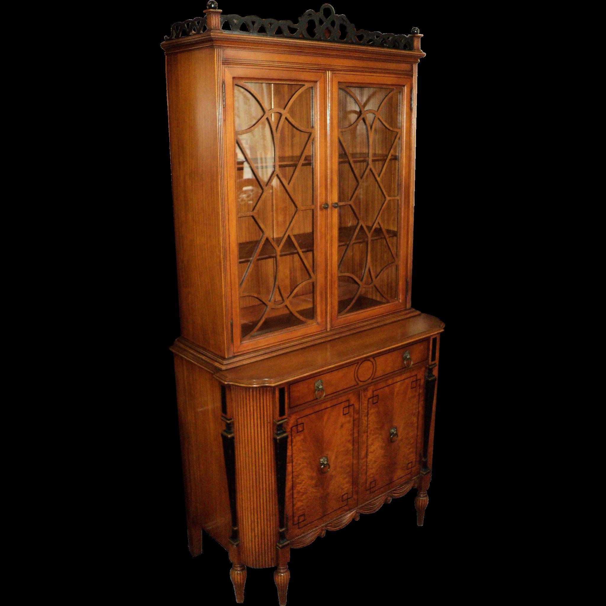 Satin Wood Sheraton Style 1930's China Cabinet