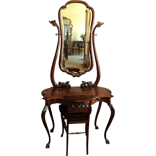 Antique Mahogany Vanity with Chair, dated 1916